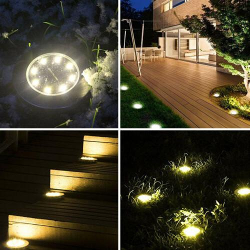 US! 8LEDs Solar Powered Disk Lights Waterproof Garden In-Ground