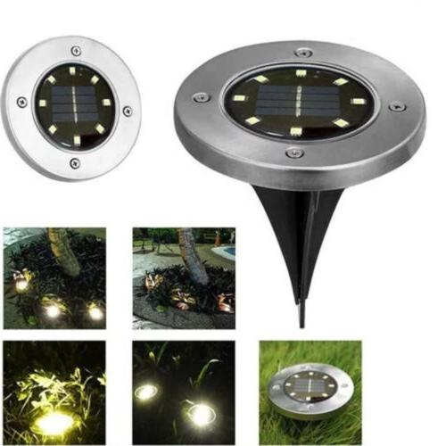 8led solar disk lights ground garden lawn