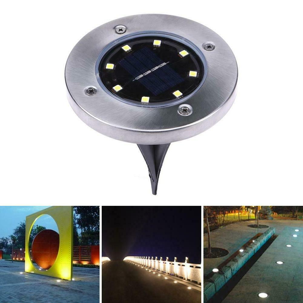 1Pack Solar Powered Disk Lights 8LEDs Waterproof Garden In-G