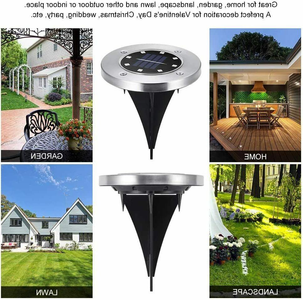 8x 8LED Powered Disk Garden Landscape