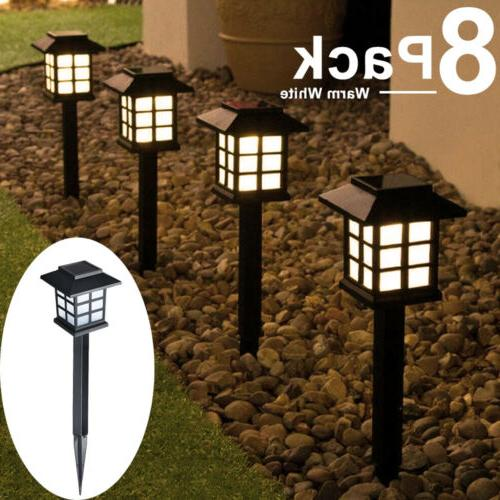 8Packs Solar Power Pathway Lights Landscape Outdoor Garden L