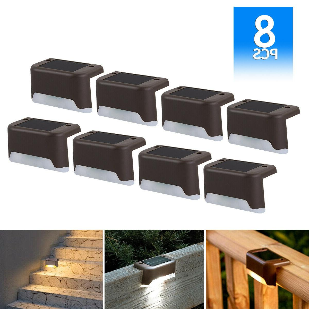 8pack Solar LED Deck Lights Outdoor Path Garden Pathway Stai