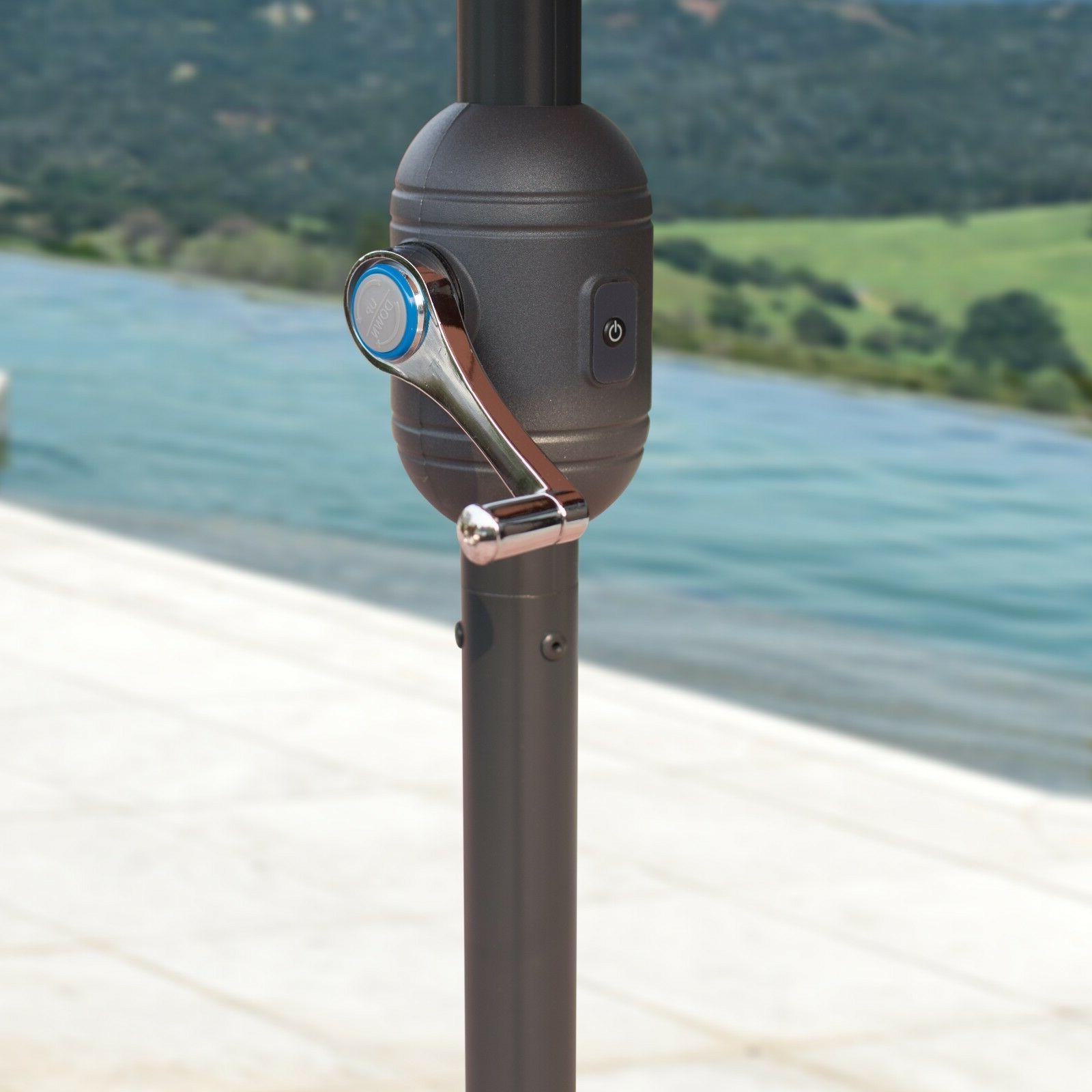 9'FT Lights Garden Umbrella Outdoor Sunshade / Base