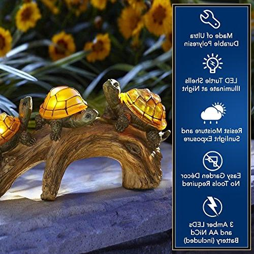 Moonrays 91515 Outdoor LED Light Garden Décor, Beautifully Polyresin on Log, Amber And 1 AA