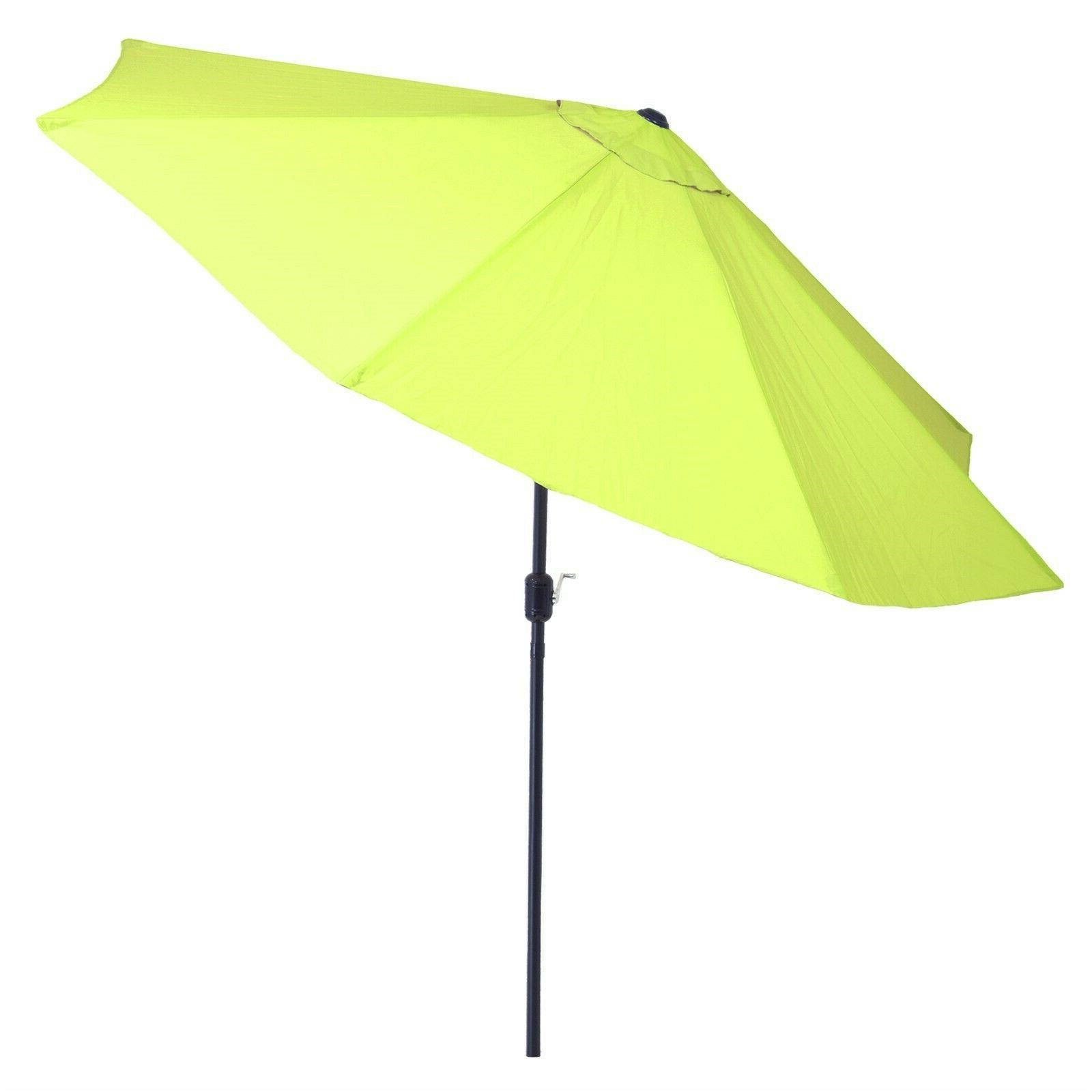 10 Feet Aluminum Pole Umbrella with Auto Tilt Crank Lime Gre