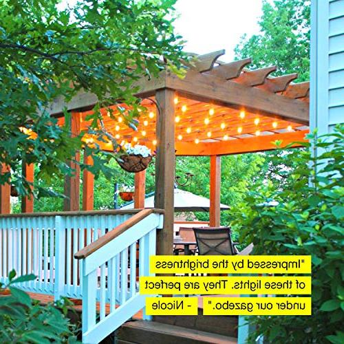 Brightech Waterproof LED String Lights - 1W Vintage - Ft Heavy Duty Patio Create Cafe On Porch