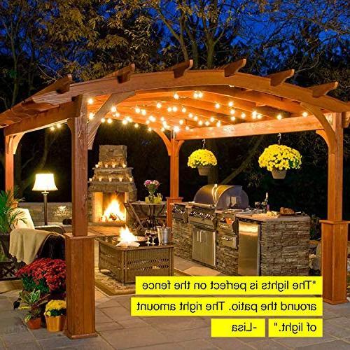 Brightech Pro - Waterproof LED String 2W Vintage - 27 Ft Duty Lights Cafe Backyard