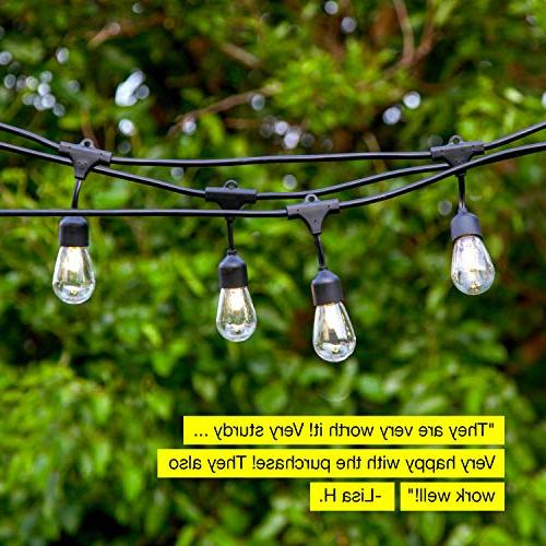 Brightech Pro Waterproof Solar String Lights 2W Vintage - 27 Ft Duty Pergola Create Cafe Backyard