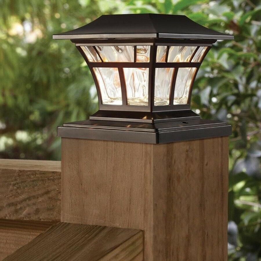 """BRONZE SOLAR LED DECK POST CAP LIGHT 4""""x4"""" 6""""x6"""" Outdoor Gar"""