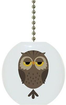Cartoon Owl Bird Animal Solid CERAMIC Ceiling Fan Light Lamp