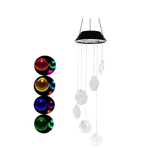 changing seashell solar wind chimes