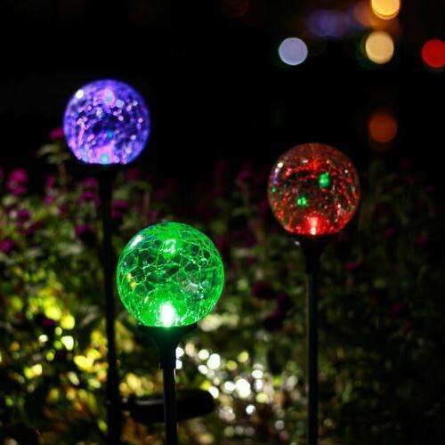GIGALUMI Christmas Outdoor Garden Lights, Cracked Ball Solar
