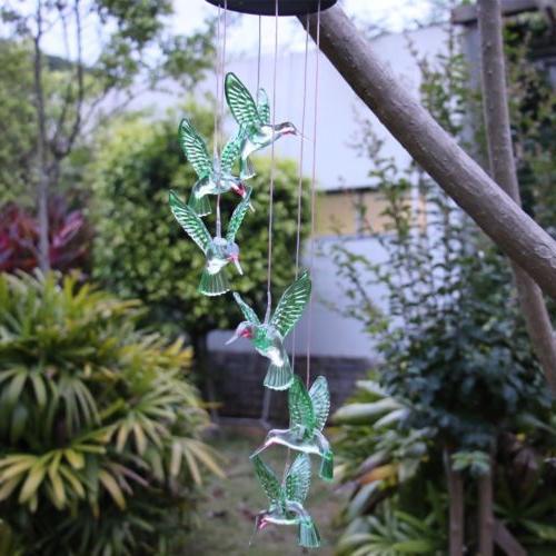 Color-Changing Solar Hummingbird Lights Yard Garden