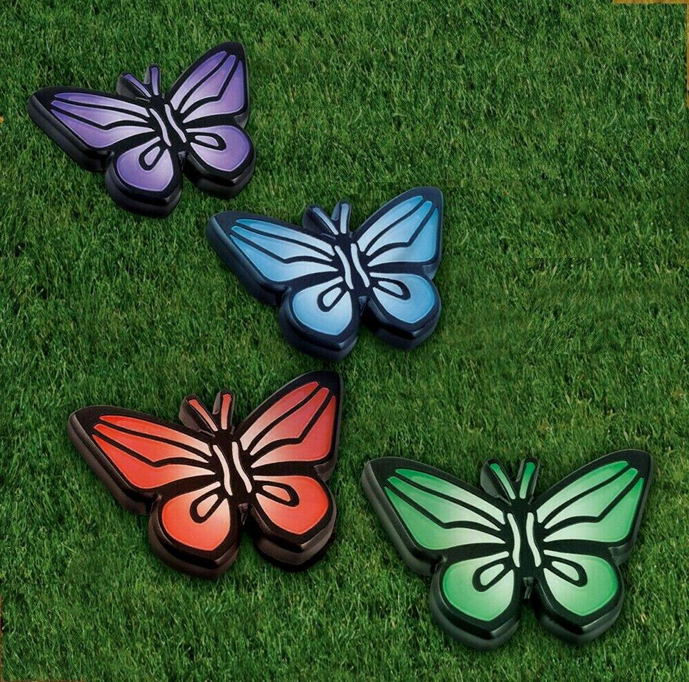 Colorful Butterfly Garden Path Solar Lights Set of