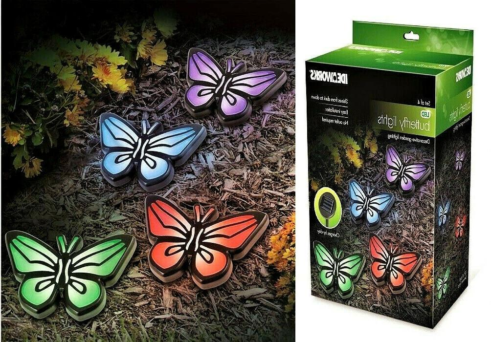 colorful butterfly garden path solar lights decorative