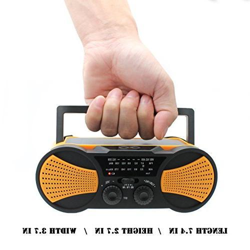 Crank Radio, Speaker, AM/FM with 4000mAh Battery, 1W Flashlight, 4LED Reading Lamp,1W Panel Charger,