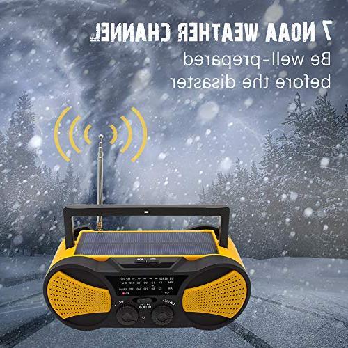 Crank NOAA Weather Radio, Audio AM/FM 4000mAh Battery, 4LED Reading Panel Charger, Alarm
