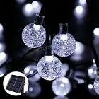 Icicle Crystal Solar String Lights, 20ft 30 LED Lighting, In