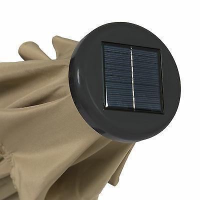 10' Deluxe Solar Lighted Tilt Adjustment-Tan