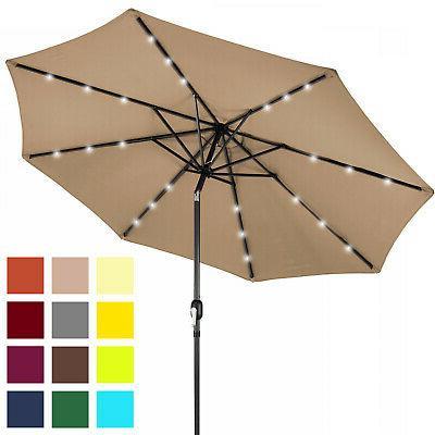 deluxe solar lighted patio umbrella