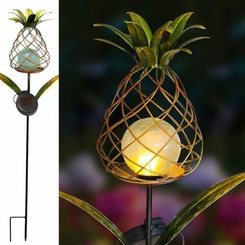 garden solar pineapple lights decorative flicking stake