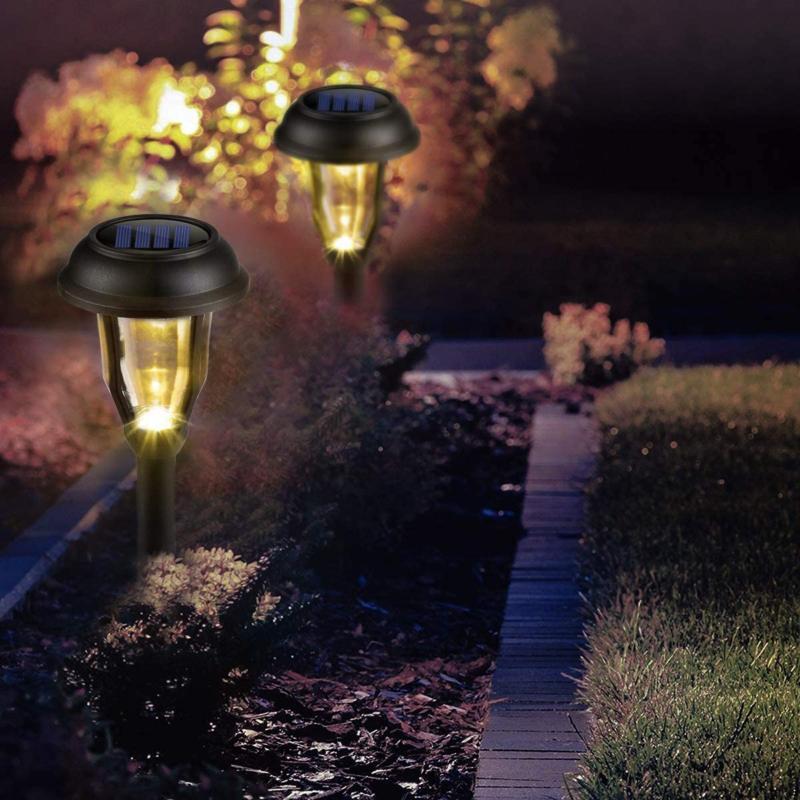 GIGALUMI Solar Pathway Lights Outdoor 8 LED Garden