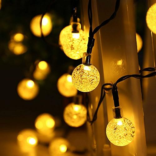 Qedertek Globe Solar String 30 LED Crystal Ball Outdoor Lights for Home, Patio, Gazebo, Party Holiday Decorations