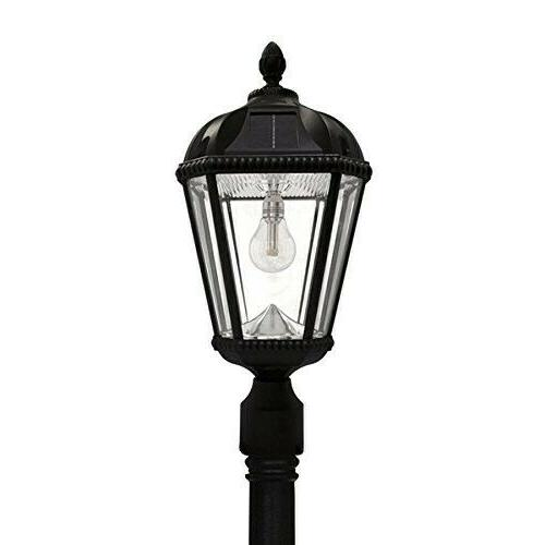 Gama Sonic GS-98B-S-BLK Royal Bulb Lamp Post Solar Light Fixture, black