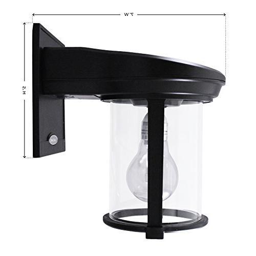 Gama Lantern Outdoor Fixture, Mount Sconce, Warm White LED, Black
