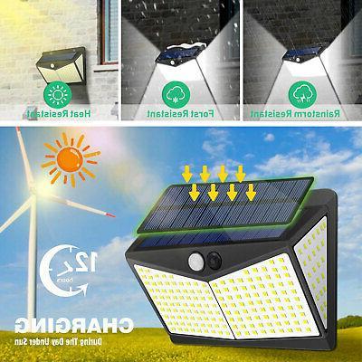 208 LED Solar Power Lights Motion Sensor Wall Lamp Garden Outdoor