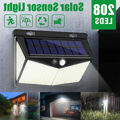 208 LED Solar Power Lights PIR Motion Sensor Wall Lamp Garde