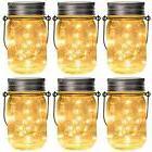 GIGALUMI Hanging Floor Lamps Solar Mason Jar Lid Lights, 6 P