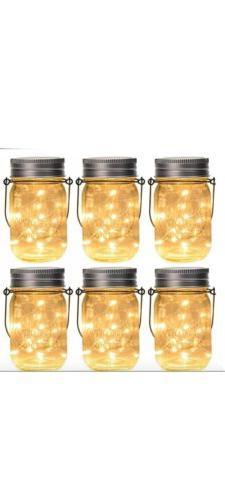 GIGALUMI Hanging Solar Mason Jar Lid Lights, 6 Pack 30 Led S