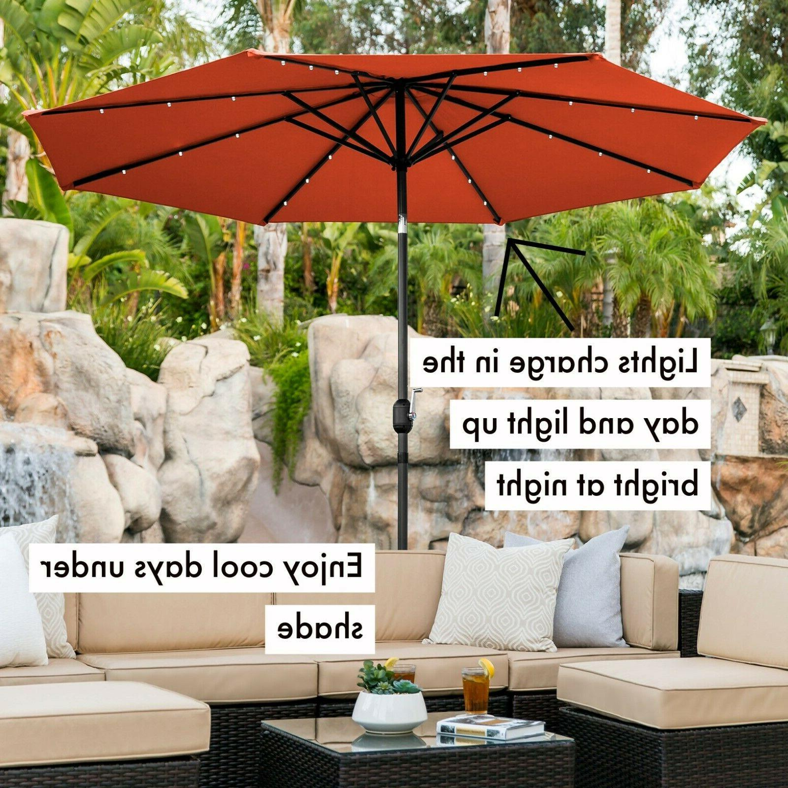 Large 10FT Powered Lighted Patio Umbrella Tilt