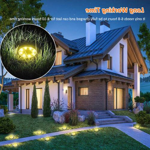 LED Solar Disk Lights Ground Buried Deck Path Outdoor Waterproof