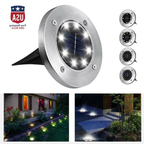 led solar disk lights ground buried garden