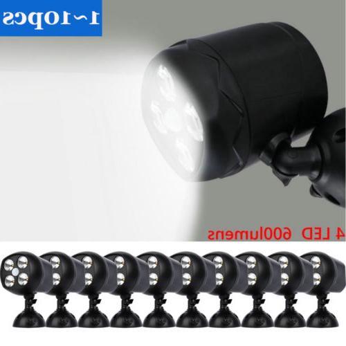 LOT 4-LED Battery Powered Motion Sensor Security Light Outdo
