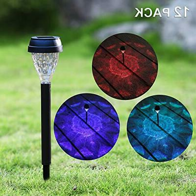 MAGGIFT 12 Pack Solar Powered Pathway Lights RGB