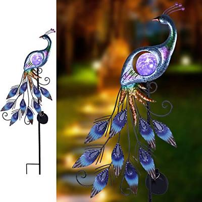 Metal Garden Stake Solar Lights Peacock Outdoor Patio Yard D