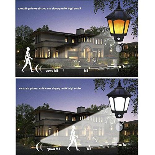 Motion Lights Outdoor, 2 Flickering Outside Lighting, Solar Security for Yard Deck Stairway