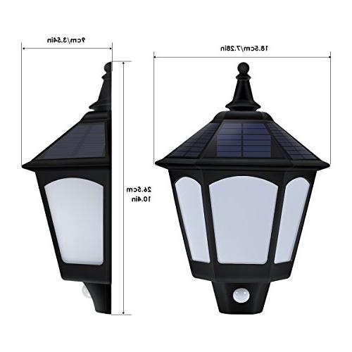 Motion Solar Lights Outdoor, 2 Flickering Flames Outside for Porch Yard Deck Stairway