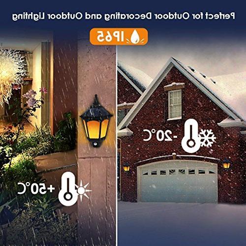 Motion Sensor Solar Lights Outdoor, 2 Flickering Outside On/Off Solar Security for Garden Yard