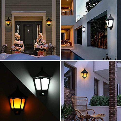Motion Solar Lights Outdoor, 2 Modes Flickering Outside Auto Solar for Garden Porch Yard Deck Stairway