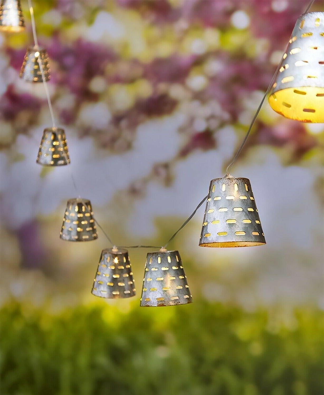 olive bucket solar string lights garden yard