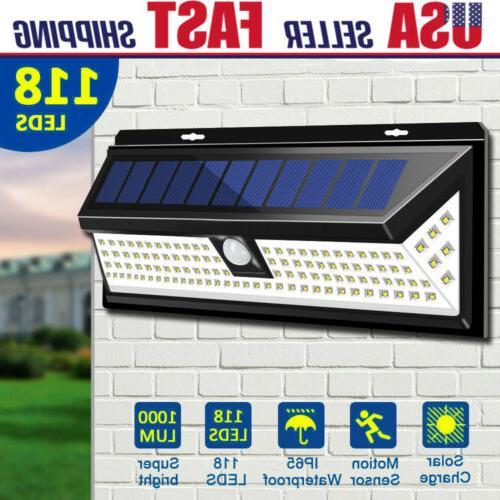 outdoor 100 led solar power lights pir
