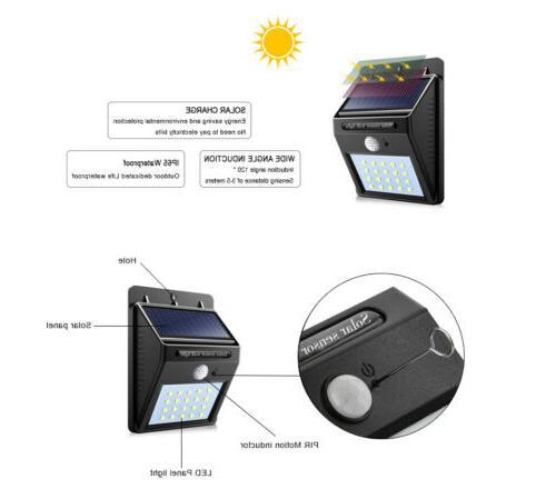 Outdoor 20 Solar Wall Lights PIR Motion Path Lamp