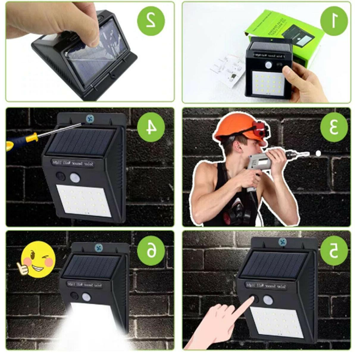 Outdoor 20 LED Solar Wall Lights Motion Path Lamp