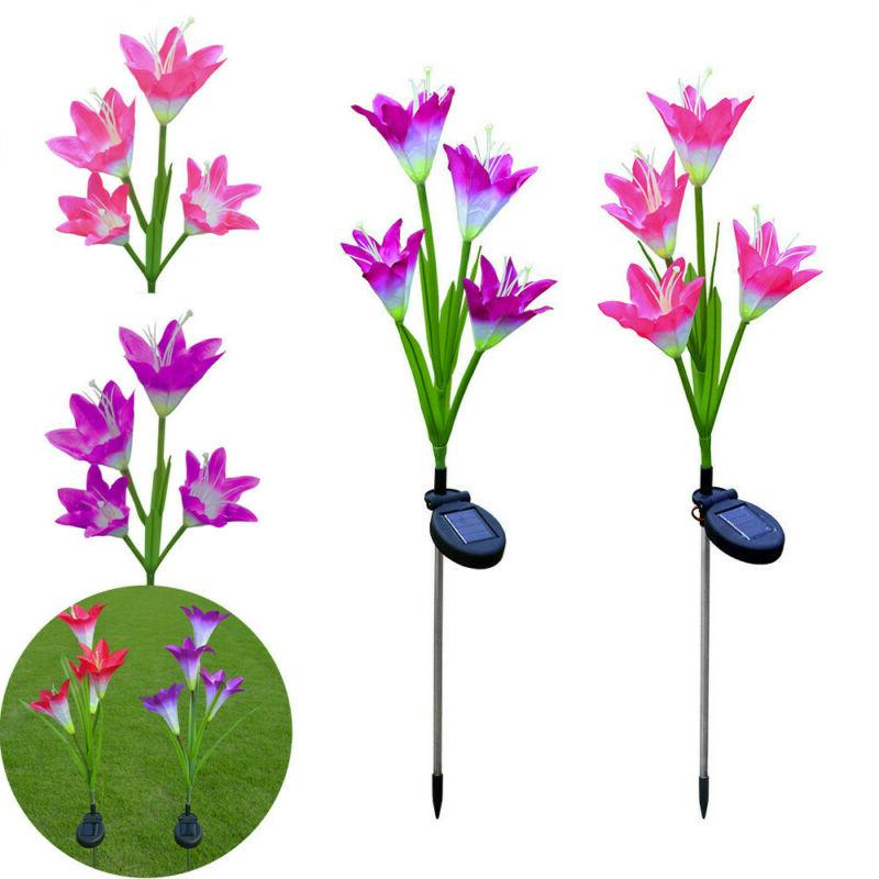 outdoor solar garden stake lights lily flowers