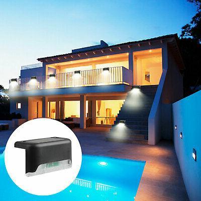 4Pcs Solar Deck Lights Garden Stairs Step Lamp US