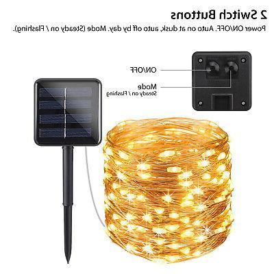 Outdoor Solar 33Ft Copper Wire String Xmas